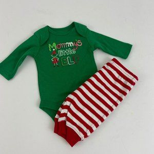 Baby Boy Christmas Outfit Elf Bodysuit Stripe Pant